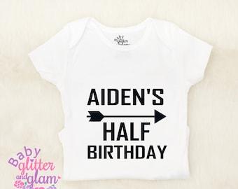 Half Birthday Boy Arrow Shirt, Half Birthday Boy Outfit, Half Birthday Boy Trendy, Boy 6 Month Birthday, Half Way to One Boy