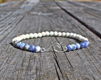 Gemstone Ride the Wave Anklet with Sodalite Howlite and Sea Turtle Hatchlings by Pisces Island