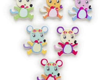 12 buttons mouse painted wood mouse wood buttons 3 cm - 2 holes