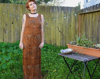 Camel/Burnt Orange Patterned 90s Maxi Dress - Vintage
