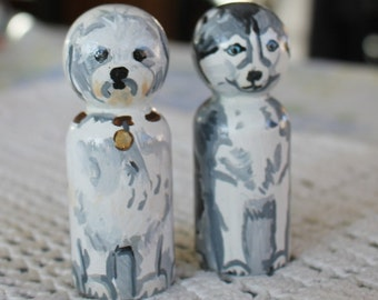 "Two Little Dogs -  Peg Dolls - Small 2 1/4"" Size"