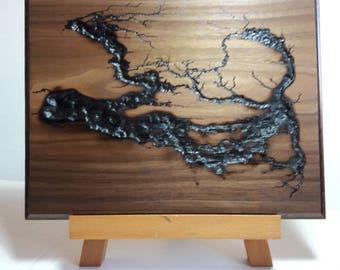 Wood Wall Art, Lichtenberg figures, Fractal Burning Wood Art