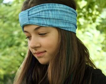 Sport Turban, Light Blue Turban, Spandex Turban, Shabby Head Wrap, Turban Head Wrap (#1510) S M L
