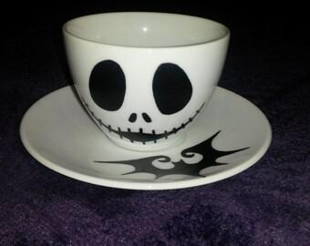 Jack Skellington Nightmare Before Christmas Handpainted Teacup and Saucer Set