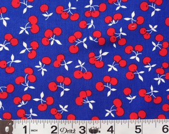 Lakehouse Dry Goods Tri Cherries Blue 1930's Reproduction Quilt Fabric