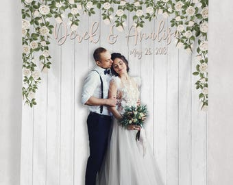 Wedding Decor Signs, Wedding Party Decor, Custom Wedding Step and Repeat Photo Booth, Outdoor Wedding Decor Sign // W-A09-TP REG1 AA3