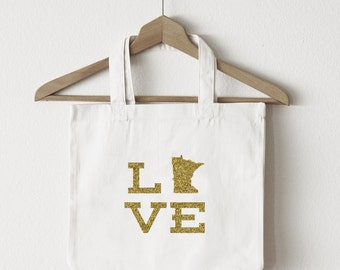 Love Minnesota tote bag/custom tote/market bag/canvas shopping bag/state tote/market tote/ reuseable bag/ Minnesota state bag/ gold