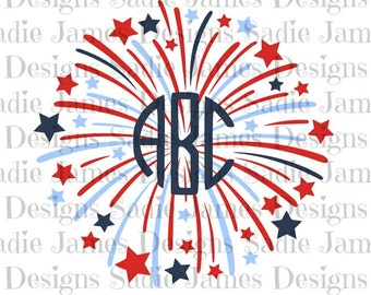 Monogram Fireworks SVG and Silhouette Studio cutting file, Instant Download