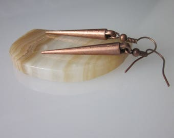 Minimalist Spike Earrings Antiqued Copper Metal Spike Dangle Modern Earrings Geometric Cone Shaped Dagger Goth Jewelry Drop