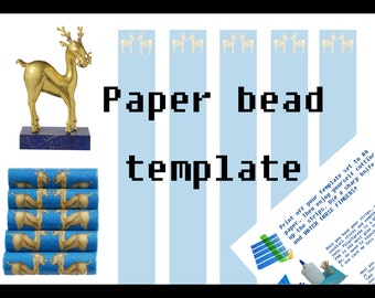 Paper bead printable template download. Golden deer & royal blue tube beads. Rijksmuseum. Make your own paper beads. Gold and blue tube bead