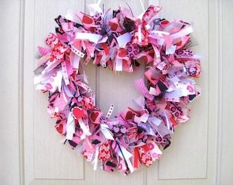 Valentine Wreath, Valentines Wreath, Pink Valentine Decor, Heart Wreath, Animal Print Wreath, Leopard Zebra, Girls Room, Bridal Shower Decor