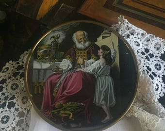 Old confectionery box with a glass painting