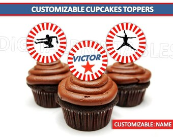 Customizable American Ninja Warrior Cupcake Toppers, American Ninja Warrior party favors, Ninja Warrior printables, Instant Download