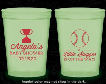 A Little Slugger is on the way, Glow in the Dark Baby Shower Cups, Baseball Baby Shower, Glow Baby Shower Party (90145)
