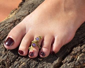 Spiral Toe Ring, Gold Toe Ring, Foot Ring, Ring for Toe, Gemstone Toe Ring, Purple Toe Ring, Boho Toe Ring, Brass Toe Ring, Foot Jewellery