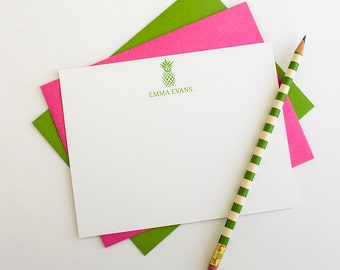 Personalized Stationery  | Pineapple Stationery | Pineapple Note Cards | Preppy Stationery | Social Stationery | Personalized Note Card Set