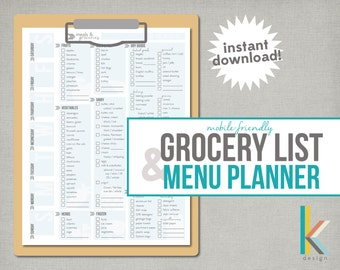 Mobile-Friendly, Printable Grocery List and Menu Planner, Instant Download