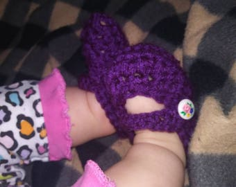 Purple Mary Jane baby booties