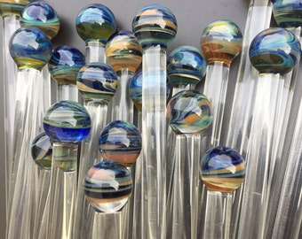 Colorful swizzle sticks OOAK marble end stirs