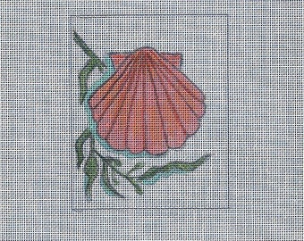Scallop Shell Hand Painted on 18 ct Needlepoint Mono Canvas