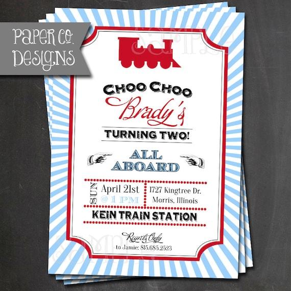 Vintage Train Birthday Invitations PRINTABLE or PRINTED