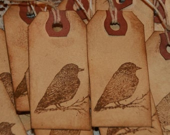 One Dozen DIstressed Grunged Bird Gift Tags