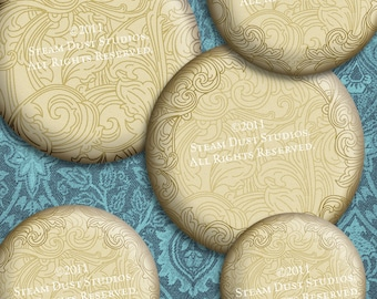"""1.5"""", 32mm, 30mm & 1"""" Circles - Victorian, Steampunk, Goth Scroll Backgrounds - Digital Collage Sheet - Instant Download and Print"""