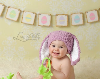 3 to 6m Girl Baby Hat Bunny Ears Dusty Rose Pink, Baby Bunny Costume, Crochet Baby Hat, Bunny Hat, Baby Bunny Hat Photograpy Prop Baby Gift