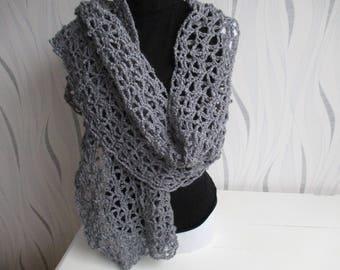 shawl wool silver gray, silver grey wool, wool grey scarf shawl, silver, mothers day gift