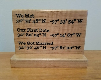 Engraved wood GPS coordinates