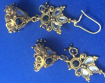 Golden Indian Earrings w/ Stones