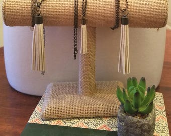 Ivory Leather Tassel Necklaces on bronze chain