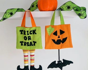 Halloween Trick or Treat Bag sewing pattern with templates and full instructions. Wicked witch pumpkin bat goodie bag ghost spider