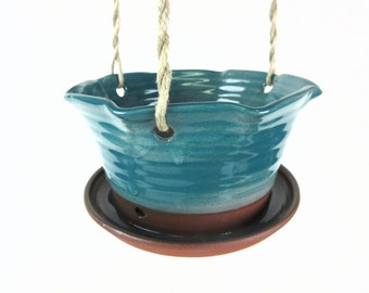 Ceramic hanging planter flower pot planter, hanging pottery flower pot for the porch, pottery planter