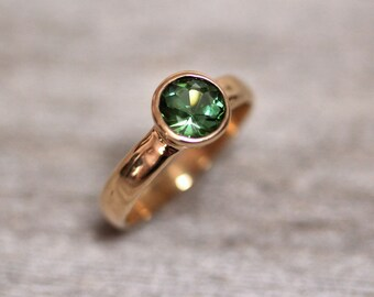 Moss Green Tourmaline Gold Ring, Faceted Gemstone Ring Recycled 14k Yellow Gold Ring Alternative Engagement Ring Eco Earth Green - US Size 6
