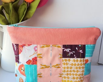 Patchwork Zipper Pouch - Peach/Turquoise  - Project Bag - Cosmetic Bag - Butterflies/Dragonflies/Bees