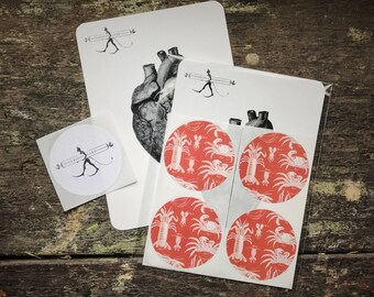Natural History Lobster and Crab Science Stickers. Seaside Wedding Envelope & Scrapbook embellishment. Luxury round sticker four (4) Pack.