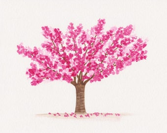 Cherry blossom tree watercolor painting, spring wall art, floral home decor, cherry blossom printable, digital file for instant download