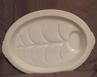 Fireking Ovenware Footed Meat Tray White Milk Glass