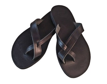 Black Leather Slides - Toe Ring Sandals - Flat Leather Sandals. Greek Sandals - Handmade in Greece
