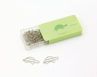 Tortoise Paper Clips • Midori Animal D-Clips Japanese Stationery