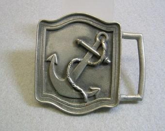Pewter Navy Anchor Belt Buckle, B.H.S.. Vintage