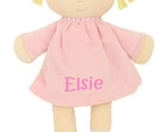 Personalised embroidered small rag doll, Embroidered rag doll, Newborn personalied gift, New baby girl gift, Rag doll for little girl