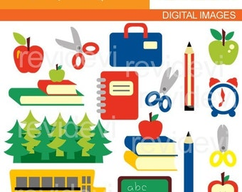 Back To School Clipart sale / school supplies clip art / commercial use / school bus, chalkboard, books, pencils, apples / download