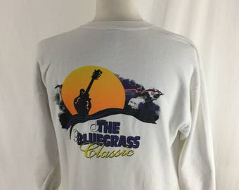 Vintage 90s The Bluegrass Classic White Crew Neck Size Large Music Guitar Made In USA