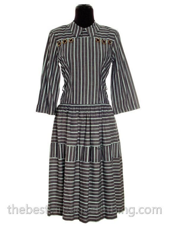 Cotton S Long Adorable Sleeves M Seafoam Bows Gray 1940s Vintage Day Dress Stripes Green txfqvg7w
