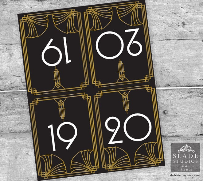 ?zoom & Great Gatsby Glamour 1920s Table Numbers 1-20. Black and gold