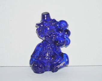 Mosser Glass Lyle Everyone Loves A Clown Cobalt Blue Figurine 1980s