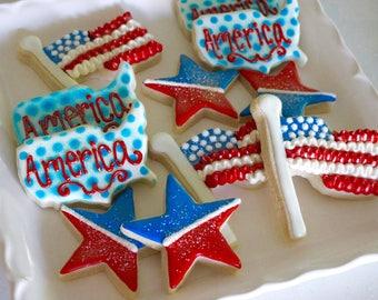LOCAL - 4th of July USA Sugar Design Cookies - 1 Dozen!