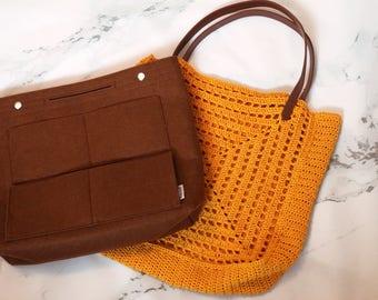 Crocheted Bag, Removable Insert Organizer, Crochet Bag, Festival Bag, Removable Bag, Summer Tote, Travel Bag, Yellow Bag, Sundance Bag